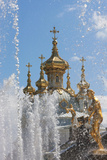 Golden Statues and Fountains of the Grand Cascade at Peterhof Palace, St. Petersburg, Russia Photographic Print by Martin Child