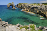 Castro de Gaviotas Karst Limestone Rock Archway and La Canalina Bay, Near Llanes, Asturias, Spain Photographic Print by Nick Upton