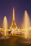 Eiffel Tower and the Trocadero Fountains at Night, Paris, France, Europe Photographic Print by Neale Clark