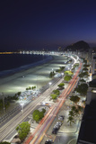 View of Copacabana Beach and Avenida Atlantica at Dusk, Copacabana, Rio de Janeiro, Brazil Photographic Print by Ian Trower