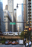 L Train on Elevated Track Crosses South Lasalle Street in the Loop District, Chicago, Illinois, USA Photographic Print by Amanda Hall