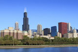 Chicago Skyline and Lake Michigan with the Willis Tower, Chicago, Illinois, USA Photographic Print by Amanda Hall