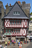 Medieval Half Timbered Houses and Cafes, Old Town, Morlaix, Finistere, Brittany, France, Europe Photographic Print by Guy Thouvenin