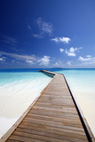 Wooden Jetty Out to Tropical Sea, Maldives, Indian Ocean, Asia Photographic Print by Sakis Papadopoulos