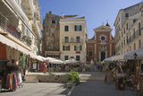Sunny Square w Church, Pavement Cafes and Small Shops, Island of Corfu, Ionian Island, Greece Photographic Print by James Emmerson