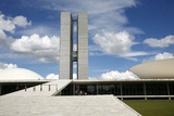 Congresso Nacional (Nat'l Congress) Designed by Oscar Niemeyer, Brasilia, UNESCO Site, Brazil Photographic Print by Yadid Levy
