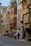 Medieval Half Timbered Houses in Streets of Old Town, Dinan, Brittany, France, Europe Photographic Print by Guy Thouvenin