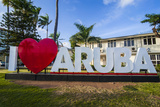 I Love Aruba Sign in Downtown Oranjestad, Capital of Aruba, ABC Islands, Netherlands Antilles Fotografisk trykk av Michael Runkel