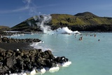 Outdoor Geothermal Swimming Pool and Power Plant at the Blue Lagoon, Iceland, Polar Regions Photographic Print by Peter Barritt