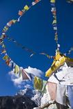 Prayer Flags and Buddhist Stupa, Namche Bazaar, Solu Khumbu Region, Nepal, Himalayas, Asia Photographic Print by Ben Pipe