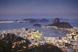 View of Sugar Loaf Mountain (Pao de Acucar) and Botafogo Bay at Dusk, Rio de Janeiro, Brazil Photographic Print by Ian Trower