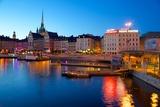 Gamla Stan at Dusk, Riddarholmen, Stockholm, Sweden, Scandinavia, Europe Fotodruck von Frank Fell