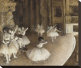 Ballet Rehearsal on Stage, 1874 Stretched Canvas Print by Edgar Degas