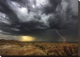 Badlands Lightning Stretched Canvas Print by Gassman Stephen