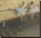 Dancers Practicing at the Barre, 1877 Stretched Canvas Print by Edgar Degas