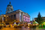 Council House and Christmas Market, Market Square, Nottingham, Nottinghamshire, England, UK Photographic Print by Frank Fell