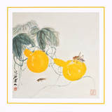 Grasshoppers on Yellow Gourds Prints by  Qi Baishi