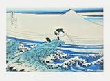 Fisherman Standing on a Rocky Promontory at Kajikazawa Kunst von Katsushika Hokusai