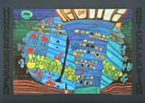 THE BLUE MOON - ATLANTIS - WALDVIERTEL , 1966 Plakater av Friedensreich Hundertwasser