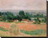 Haystack at Giverny, 1886 Stretched Canvas Print by Claude Monet
