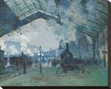 Arrival of the Normandy Train, Gare Saint-Lazare, 1877 Stretched Canvas Print by Claude Monet
