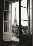 Eiffel Tower through French Doors Stretched Canvas Print by Christian Peacock