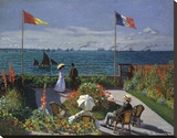 Jardin a Sainte-Adresse, 1866/1867 Stretched Canvas Print by Claude Monet