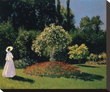 Woman in the Garden, Sainte-Adresse, 1867 Reproduction transférée sur toile par Monet Claude