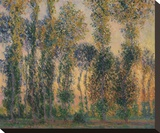 Poplars at Giverny, Sunrise, 1888 Reproduction transférée sur toile par Claude Monet