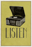 Listen Vintage Record Player Posters
