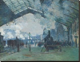 Arrival of the Normandy Train, Gare Saint-Lazare Stretched Canvas Print by Claude Monet