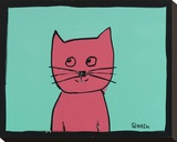 Pink Cat Stretched Canvas Print by Brian Nash