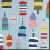 Buoys Blue Stretched Canvas Print by Brian Nash