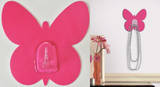 Bright Pink Butterfly Magic Hook Wall Decal