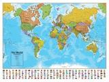 Hemisphären Blauer Ozean Welt Landkarte, laminiertes Informations Poster Kunstdrucke