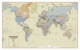 Hemispheres Boardroom Series World Wall Map, Educational Poster Posters