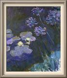 Water Lilies and Agapanthus Brushstroked Canvas by Claude Monet