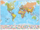 World 1:30 Wall Map, Laminated Educational Poster Poster