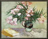 Vase with Oleanders and Books, c.1888 Framed Canvas Print by Vincent van Gogh