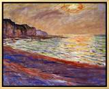 Beach at Pourville, Sunset, 1882 Framed Canvas Print by Claude Monet