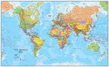Maailman MegaMap 1:20 seinä kartta, laminoitu Tietotaitojuliste Julisteet