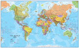 World MegaMap 1:20 Wall Map, Laminated Educational Poster ポスター