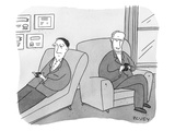 A man is on the couch in his therapist's office and they are texting each … - New Yorker Cartoon Premium Giclee Print by Peter C. Vey