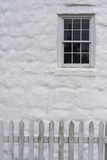 Close Up of Stone Masonry, Window, and White Picket Fence Photographic Print by Jonathan Irish