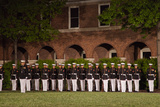 Marines Marching at a Night Ceremony at the Marine Barracks Photographic Print by Scott S. Warren