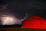 A Lightning Storm Builds over a Ger on the Mongolian Steppe Photographic Print by Ben Horton