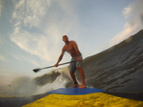 A Man Stand Up Paddleboard Surfing Waves Photographic Print by Skip Brown