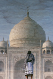 Flipped Image of the Reflection of a Tourist and Taj Mahal in Water Photographic Print by Jonathan Irish