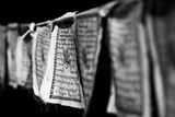 Black and White Buddhist Prayer Flags Photographic Print by Jonathan Irish