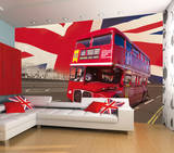 London Double Decker Bus Wallpaper Mural Vægplakat